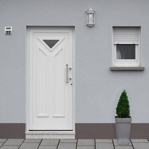 Kunststoffhaustuere-graues-Haus